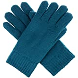 BYOS Winter Womens Toasty Warm Plush Fleece Lined Knit Gloves, 14 Solid Colors (Teal)
