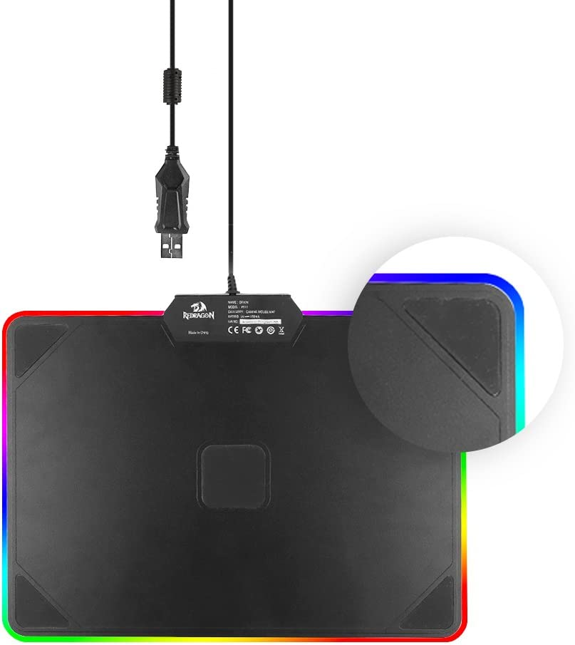 Hard Surface Waterproof Redragon P011 Orion RGB Mouse pad Colorful LED Lighting Gaming Mouse Pad Mat for Computer Laptop Notebook