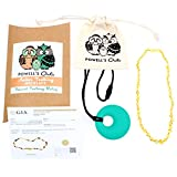 Baltic Amber Teething Necklace (Unisex - Multicolor - 12.5 Inches) Gift Set + FREE Silicone Teething Pendant ($15 Value) Handcrafted, 100% USA Lab-Tested Authentic Amber - Natural Teething Pain Relief