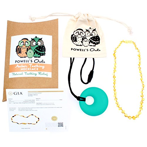 (Baltic Amber Teething Necklace Gift Set + FREE Silicone Teething Pendant ($15 Value), Handcrafted, 100% USA Lab-Tested Authentic Amber - Teething Pain Relief (Unisex - Polished Honey - 12.5 Inches))