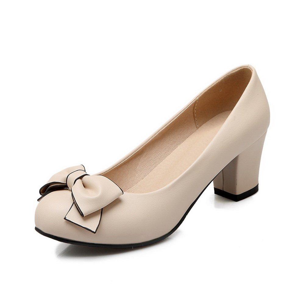 BalaMasa Ladies Slip-On Round-Toe Kitten-Heels Beige Upper Leather Pumps-Shoes - 4.5 B(M) US