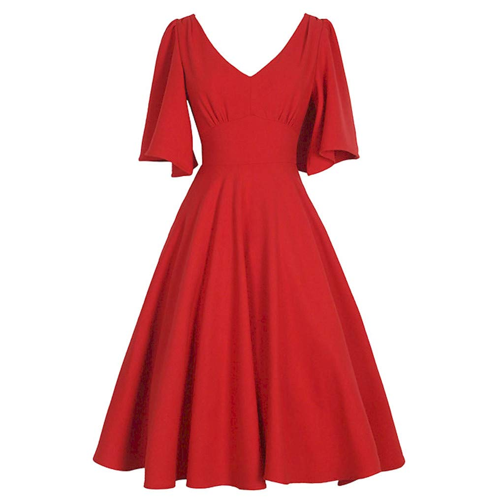 Beonzale Womens Hepburn Style Evening Dresses Long Sleeve Vintage Solid V Neck Dress with Retro Swing Party Dressing