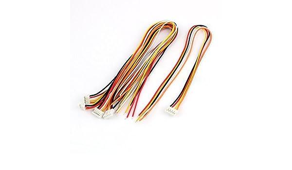Amazon.com: eDealMax 5 piezas sola extensión Conector extremo 5P pH 2,0 Balance de alambre DE 30 cm Multicolor: Electronics