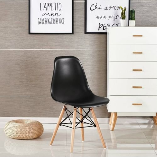 Comfortableplus Set di 4 sedie Mid-Century Stile Moderno Sala da Pranzo in Legno Nero
