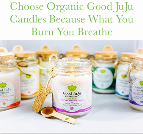 Good JuJu Apothecary 7 oz. Organic Therapeutic Massage Candle for Aches, Pains & Balancing the Heart Chakra