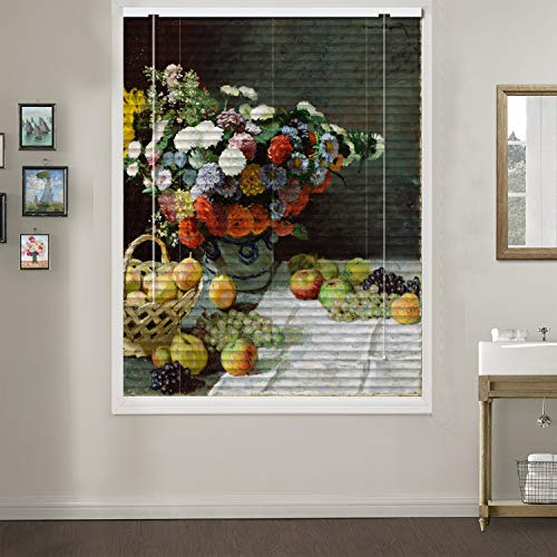 Patterned Aluminium Mini Window Blinds, Still Life with Flowers and Fruits, by Claude Monet, 45W x 48L Inches, Premium 1-inch Blackout Light Filtering Horizontal Custom Blinds for Kitchen, Doors