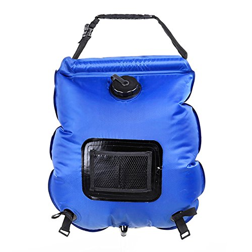 nex&co Solar Camp Shower Bag 5 Gallons Portable Solar Water Heating Summer Sun Shower Backpack with Removable Hose and Shower Head for Outdoors Camping Hiking Climbing Fishing, Blue by nex&co