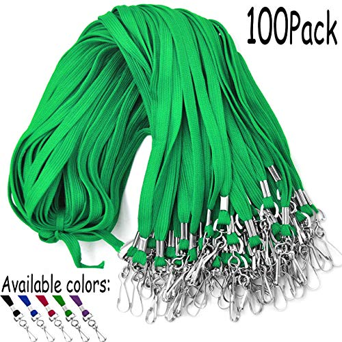 Lanyards 100 Pack Green Lanyards with Swivel Hook Clips for ID Name Badge Holder -