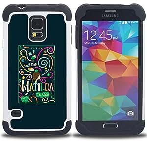 For Samsung Galaxy S5 I9600 G9009 G9008V - text teal green black small Dual Layer caso de Shell HUELGA Impacto pata de cabra con im??genes gr??ficas Steam - Funny Shop -