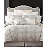 "Court of Versailles ""Linen Rose"" Duvet Cover, King Grey/White"