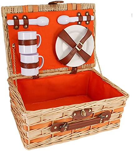 Orange Premium Willow Picnic Basket with Service for 2