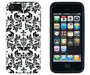 DandyCase 2in1 Hybrid High Impact Hard Black Flower Pattern + Silicone Case Cover For Apple iPhone 5S & iPhone 5 + DandyCase Screen Cleaner