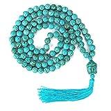 LIUANAN Yoga Meditation 108 Tibetan 8mm Natural Gemstone Prayer Buddha Beads Mala Wrap Bracelet Necklace (Natural Turquoise)
