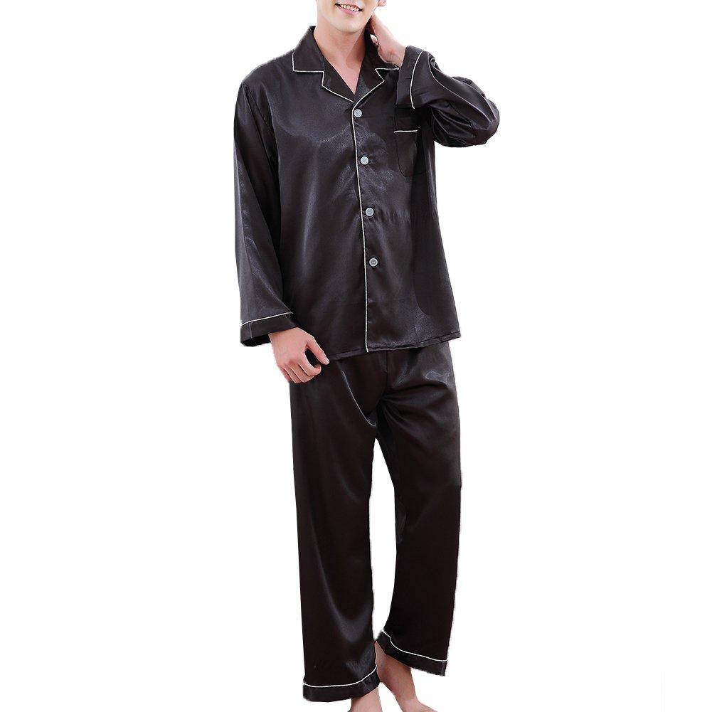 ZUEVI Men's Classic Silk Pajamas Set Sleepwear(Black-L)