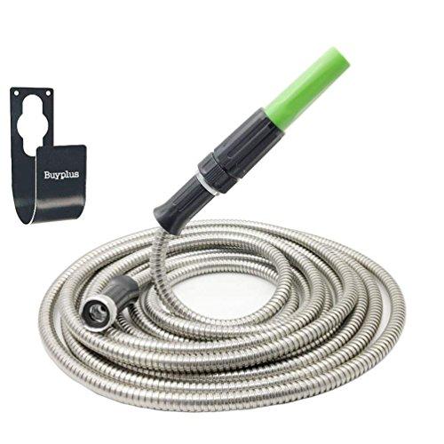 25' Diameter Metal - Buyplus Metal Garden Hose Stainless Steel Metal Hook Lightweight, Kink-Free, Stronger Than Ever, Easy to Use (25ft)