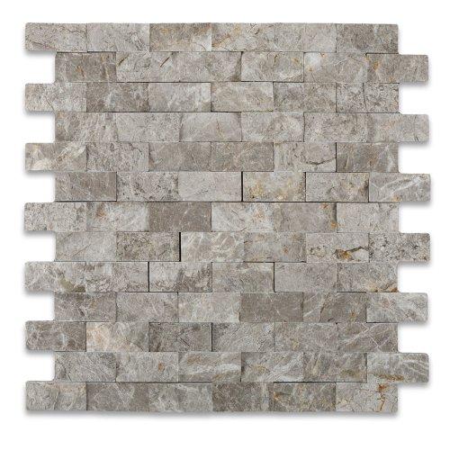 SILVERADO GRAY 1X2 Marble SPLIT-FACED Mosaic - Slate Backsplash Tile