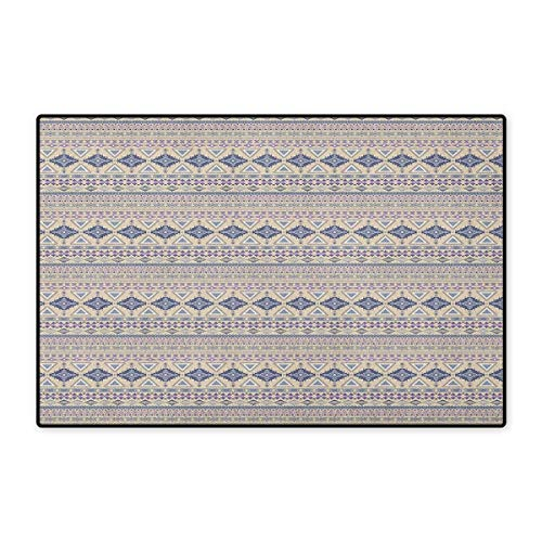 Native American,Door Mats Area Rug,Antique Detailed Borders Ethnic National Cultural Ornament Pattern,Door Mat Doorroom Mat with Non Slip,Eggshell and Blue,Size,24