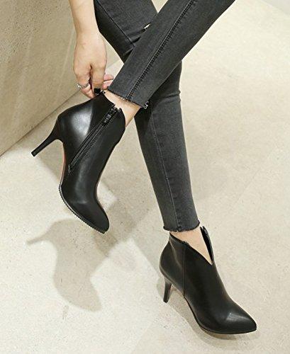 Aisun Womens Simple Sexy Hoge Naaldhak Korte Laarzen Inside Zip Up Chic Enkellaarsjes Met Ronde Neus En Rits Zwart