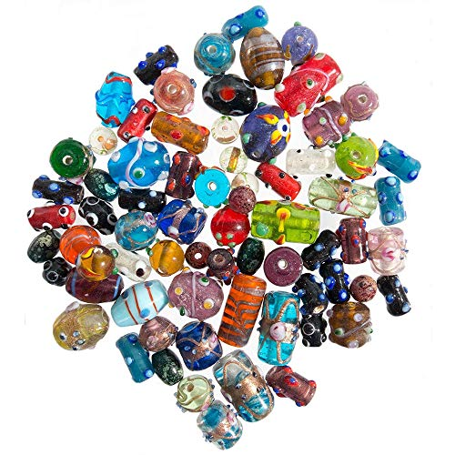 (Glass Beads for Jewelry Making Supplies for Adults, 60-80 Pcs Bulk Kits - Premium Assorted Mix of Large Craft Lampwork Murano Beads for Bracelet and Necklace Crafting Supplies)