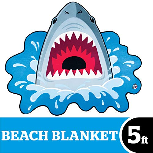 BigMouth Inc Giant Shark Bite Beach Blanket, Oversized Beach Towel, Ulta-Soft Microfiber Towel, 5 Feet Wide, Washing Machine Friendly -