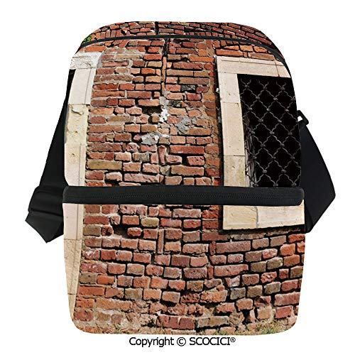 (SCOCICI Reusable Insulated Grocery Bags Old Door and Window Brick Wall Suburban Area European Aged House Entrance Thermal Cooler Waterproof Zipper Closure Keeps Food Hot Or Cold)