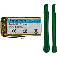 DOCA Replacement Battery for Apple iPod Nano 6th Gen, 3.7V/0.39 WHR Li-Polymer Rechargeable Battery with Opening Pry Tool Kits, Compatible with Model No.616-0531 (Nano 6th Gen)