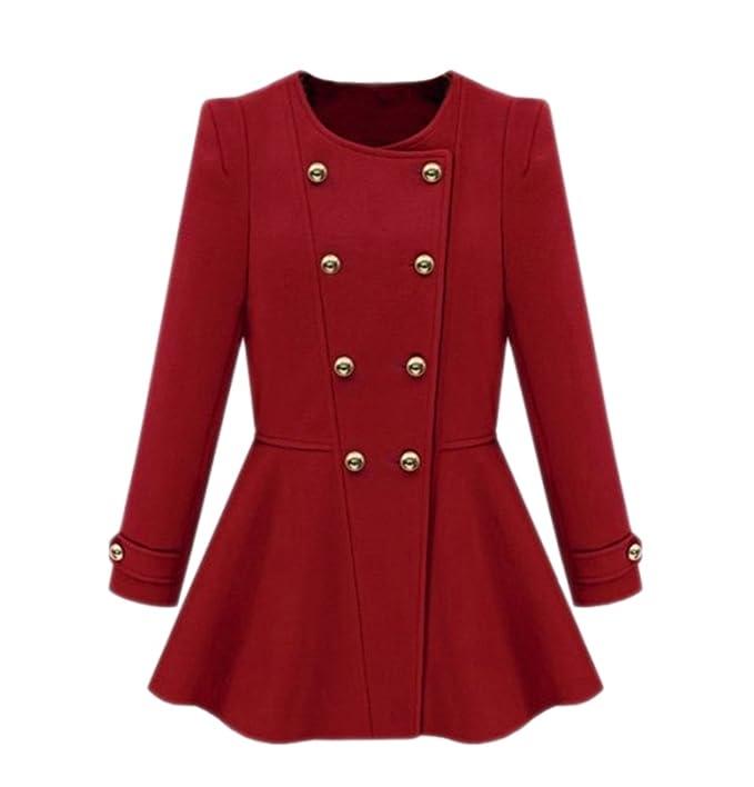 Alralel mujer Otoño cuello redondo dobladillo plisado de doble botonadura Trench Abrigo Outwear Rojo rosso US