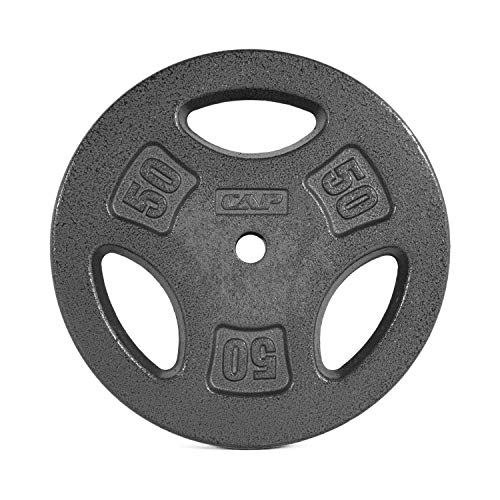 Caps Free 50 - CAP Barbell Standard 1-Inch Grip Weight Plates, Single, Black, Various Sizes