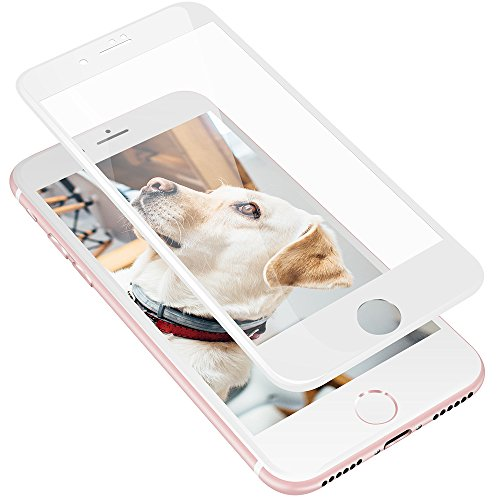 VRURC iPhone 7 Plus Screen Protector, Full Coverage 3D Curved 9H Hardness Tempered Glass Screen Protector Film for Apple iPhone 7 Plus [Bubble Free] [3D Touch Compatible] (White) (3d Bubble)