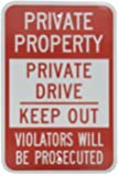 "SmartSign 3M Engineer Grade Reflective Sign, Legend ""Private Property - Private Drive Keep Out"", 18"" high x 12"" wide, Red on White"