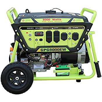Green-Power America GPG8000EW 8000W Pro Series Recoil Electric Start Generator