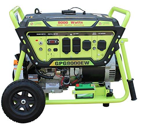 Green-Power America GPG8000EW Pro Series Recoil Electric Start Generator, -