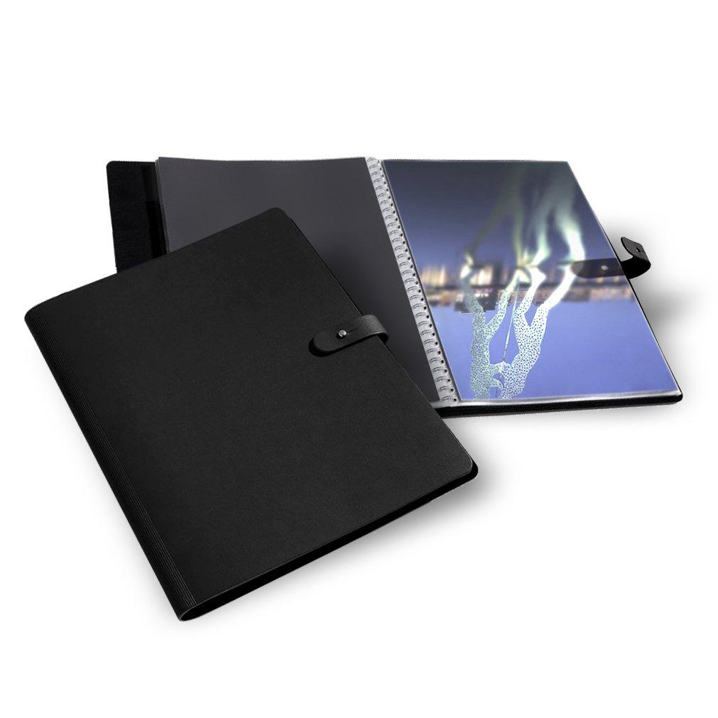 inc. 10 Polyester sleeves PRAT Pampa Spiralbook A4 Landscape Black