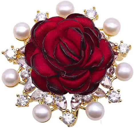0bd6c7e54f9 JYX Pearl Red Rose Brooch White Freshwater Pearl Brooch Pin for Women  Anniversary Birthday Mother's Gifts