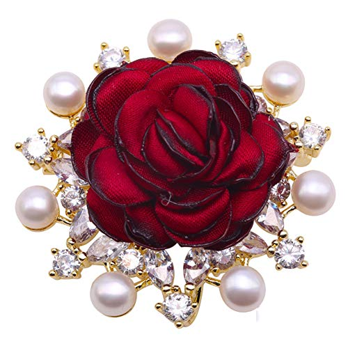 JYX Pearl Red Rose Brooch Pin Flatly Round 6mm White Pearl Brooch Pin Wedding Bridal Scarf Party Dress Bride Jewelry Gifts Bridesmaid Brooch Pins for Women