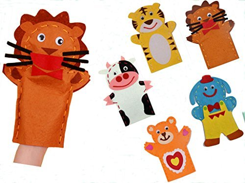 Generic Kids Craft Kits Sewing Crafs For kids-5 pcs Jungle Animals Hand Puppet kit ()