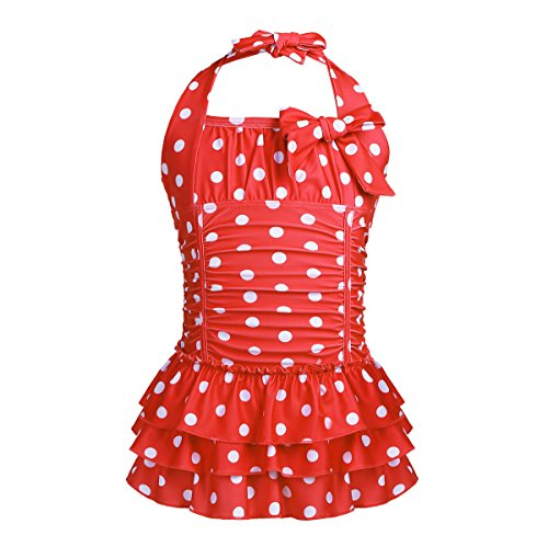 - MSemis Little/Big Girls One Piece Adjustable Polka Dot Bathing Suit Ruffle Skirted Swimwear Swim Dress Red 7-8