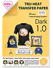 TransOurDream Tru-Iron on Transfer Paper for Shirts (20 Sheets, A4) Heat Transfers Paper for Dark Fabric Printable Heat Transfer Vinyl for Inkjet Printer (SG-3-20)