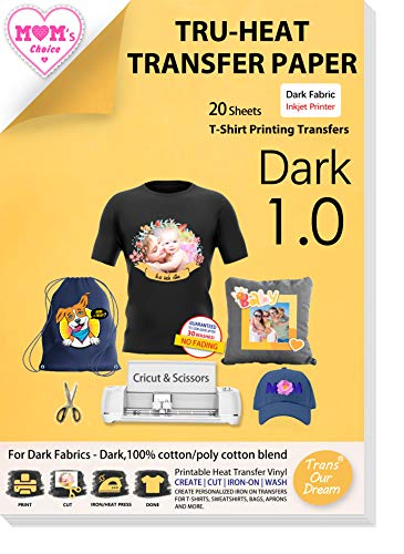 TransOurDream Tru-Heat Transfer Paper for Dark Fabric. Inkjet Iron on Heat transfers Paper for Light and Dark Fabrics 20 Sheets and 15 Sheets.