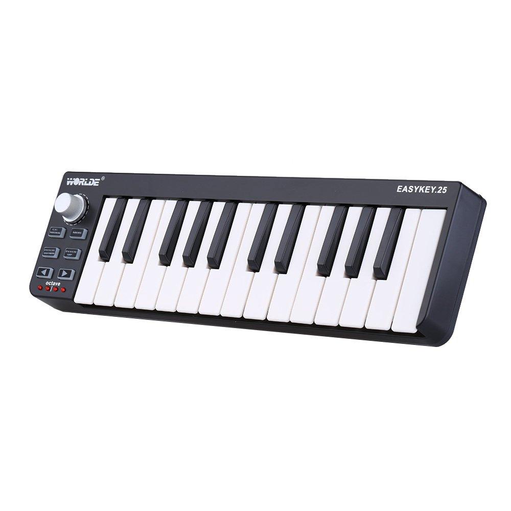 ammoon Worlde Easykey 25 Portable Keyboard Mini 25-Key USB MIDI Controller