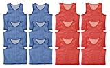Get Out! Set of 12 Scrimmage Vest Pinnies for Teen/Adult in Red and Blue – Nylon Mesh Jerseys for Any Sport