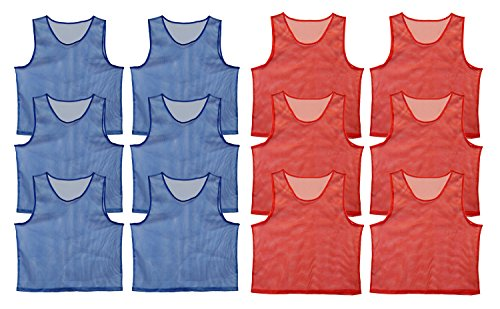 Get Out! Set of 12 Scrimmage Vest Pinnies for Teen/Adult in Red and Blue - Nylon Mesh Jerseys for Any Sport