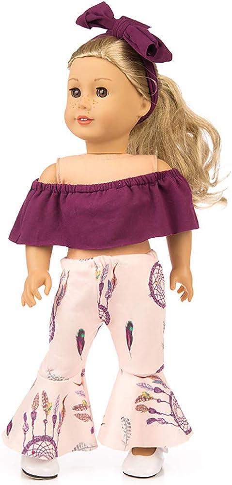 Lavany 3pcs Doll Clothes Set Off Shoulder Tops Pants for 18 Inch Doll (Purple)