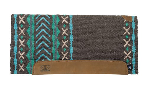 Weaver Leather Memory Foam Saddle Pad with Woven Top and Felt Bottom, Green/Turquoise/Sand, 32 X - Leather Saddle Foam