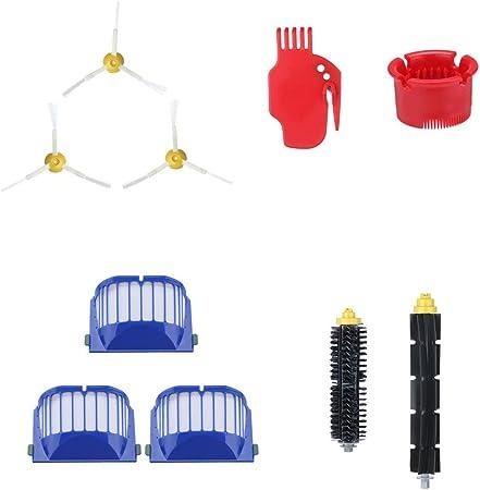 Cyond - Juego de accesorios para robot aspirador iRobot Roomba 600 610 620 630 640 650 660 670 680 (1 cubo, 1 herramienta de limpieza, 3 filtros, 3 cepillos laterales, 2 cepillos principales): Amazon.es: Hogar