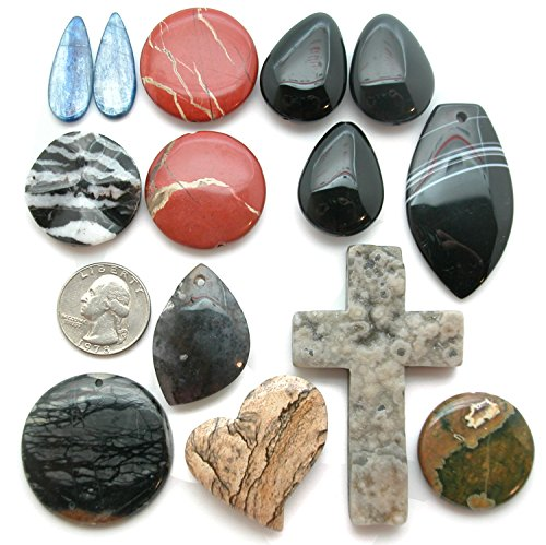 Lot (P) of 14 Gemstone Focal Pendant Beads for Jewelry Making; Ocean Jasper Drusy, Rhyolite, Picasso Marble, Sage Amethyst, Black Onyx and (Rhyolite Jasper Pendant)