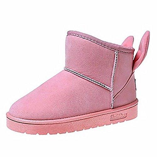 Rouge Chaussures Rose Pink Mid Noir Bout Rond Bottes Neige Occasionnels calf Femmes Gris Pour Zhudj D'hiver qdCPq7