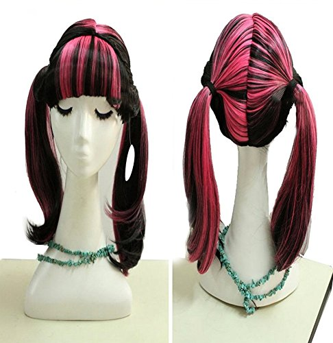 Coslive Monster High Cosplay Draculaura Wig Hair Costume Accessories Adult]()