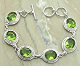 21.45 Ctw Genuine Peridot Quartz 925 Sterling Silver Overlay Handmade Fashion Bracelet Jewelry