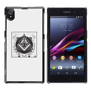 FlareStar Colour Printing Free Mason Pyramid Symbolism Black cáscara Funda Case Caso de plástico para Sony Xperia Z1 L39 C6902 C6903 C6906 C6916 C6943
